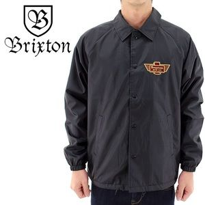 Brixton coaches jacket in black with patch logo XL